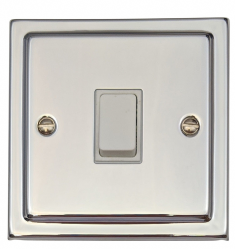 G&H TC5W Trimline Plate Polished Chrome 1 Gang Intermediate Rocker Light Switch